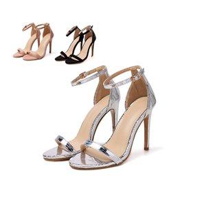 Simple Sexy Fine Heel Women's Shoes Ultra-high Heel Satin Metal Belt Buckle Word Strap Women Sandals