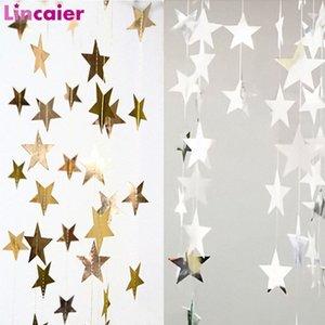 Árvore Espelho Papel 4m Gold Silver Star Banner enfeites Decoração Para Casa Natal Garland decorações do ano novo kUJp #