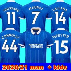 20 21 Maglia manica corta Albion Uomo Blu 2020 21 14 Lallana Dunk Hove Albion Maupay CONNOLLY Trossard NERO VITE MATERIA uomo + kids Jers