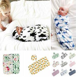 de bébé nouveau-né bébé floral Swaddle Turban chapeau mou Sleeping Couverture Wrap Set Sac de couchage pour bébé KKA7986