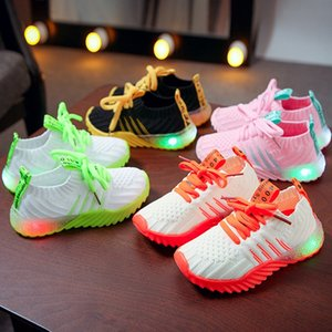 Pg7TC Net red LED light flying woven 2019 Luminous children's autumn new light luminous shoes men's and women's children's shoes knitted can