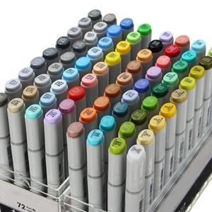 Kicute 72Pcs Farben Künstler Copic Sketch Marker Set Feine Nibs Twin Tip Board Pen Design-Markierungs-Feder für Zeichnung Art Set Versorgung Y200709