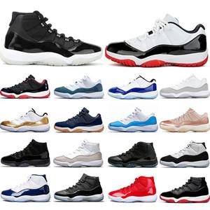Jumpman Basketball Chaussures 25e anniversaire 11 11s Bred Concord 45 chapeau et robe argent métallisé Formateurs sport Chaussures de sport Vente en ligne