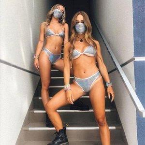 Бразилия Бич Строка Biquni Купальники Женщины с низкой талией Push-Up Блестки бикини с маской Sexy Swimsuit Ночной клуб партии Микро бикини dr5d #
