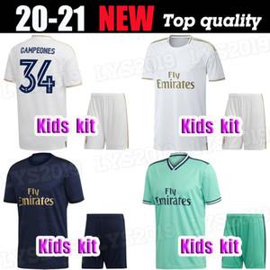 2019 Real Madrid Kinder-Kit Fußballjerseys # 7 GEFAHR 19 20 Heim Weiß Auswärts 3. 4. Jungen-Kind-Jugend-Fußball-Hemden Modric