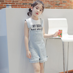 ISY5Z Girls' Denim pants 2020 new summer clothes children's Korean style denim shorts medium jeans Shorts and jeans and large children's pan