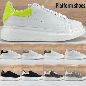 2020 새로운 플랫폼은 캐주얼 신발은 흰색 반사 검은 벨벳을 상단 빨간색 실버 장식 조각 라이트 핑크 패션 남성 여성 운동화 석회 망