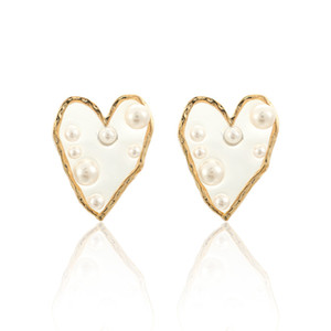 Fashion Irregular Imitation Pearl Heart Stud Earrings For Women Acrylic Star Earrings Statement Jewelry Girl Party Brincos