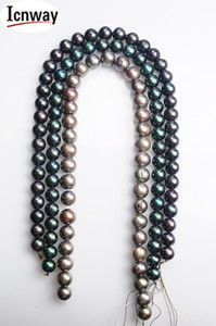 FreeShipping Natural AA Black(grey peacock green and blue)Freshwater Pearl 12-13mm 15inches DIY necklace bracelet Wholesale T200507