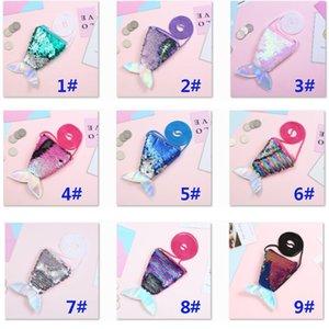 Kids Girls Mermaid Sequins Coin Purse Wallet With Lanyard Littering Purse Women Handbag Should Bag Zipper Pouches HH9-2410
