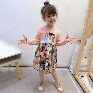 Fall Cute Girls Cartoon Splice Dress Autumn Kids Cotton Long-sleeved Pleated Dress 2020 New Fashion Children Print Princess Dress S273