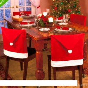 2017 christmas Santa Claus Cap Chair Cover Christmas Dinner Table Party Red Hat Chair Back Covers Xmas Decoration