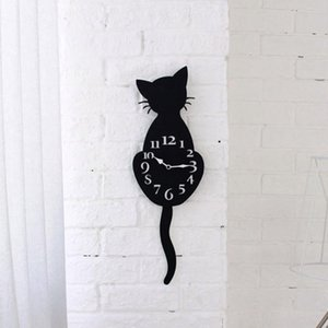 Acrylic Creative Cartoon Cute Cat Wall Clock Home Decor Watch Way Tail Move Silence Modern Design Wall Clocks 2017d12