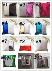 DHL Mermaid Pillow Cover Sequin Pillow Cover sublimation Cushion Throw Pillowcase Decorative Pillowcase That Change Color Gifts