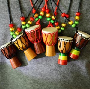 Hand-made Ethnic Style African Drum Wood Pendant Charm Djembe Percussion Musical Instrument Necklace For Women Men Kids