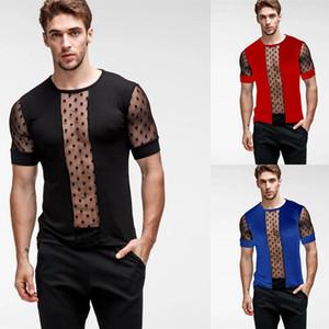Mens Transparent Sexy Mesh Crop Top T shirt Crew Sports Slim Fit Gym Training T-shirt Top Clubwear Fishnet Muscle Tee Vest M-3XL