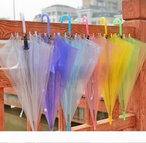 New Wedding Favor Colorful Clear PVC Umbrella Long Handle Rain Sun Umbrella See Through Umbrella LX3487
