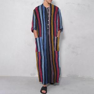 Мужские повседневные рубашки 2021 платье с длинным рукавом полосатая кровавая шейка полная длина исламского арабского кафтана ROPA Hombre Мусульманский костюм