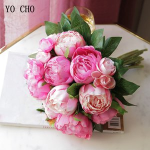 YO CHO 10 Heads Silk Artificial Peony Flower Pink Rose Bride White Big Peony Hand Bouquets Wedding Home Party Decor Fake Flowers T200703
