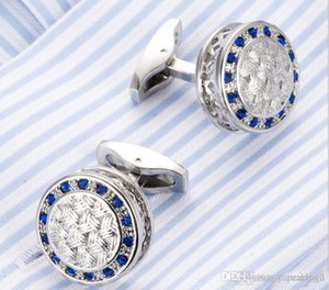 High quality French shirt cuff nail round hollow Blue Crystal cuff button men's business dress cuff button Cufflink 390 #yamalang