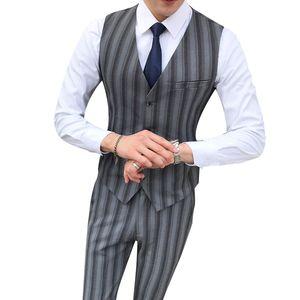 Gray striped men's suit vest with trousers,5XL business wedding party formal men trousers vest set fashion casual Waistcoat pant