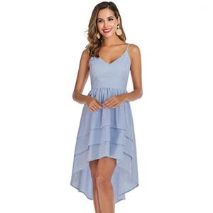 Summer Dress Abbigliamento casual a righe Spaghetti Womens Strap Abiti irregolare di modo delle signore Lunghezza Scollo a V Donne