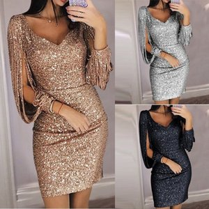 Women's Skirt Fashion V-neck Sexy Tassel Slim Dress Vestidos