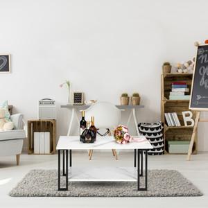 Tabela de chá casa Modern Living Prático Room Coffee Table 2 camadas de espessura MDF Imitação de mármore Tabelas Retângulo Tabletop Ferro Branco café