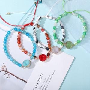Bracciale Perle pietra naturale agata per le donne a mano Druzy pietra resina intrecciato Braccialetti dell'amicizia monili regalo