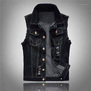 Dış Mekan Homme ceketler Tasarımcı Erkekler Jeans Ceket Yelek Erkek Plus Size Siyah Denim Jeans Yelek Kolsuz Erkek Kovboy
