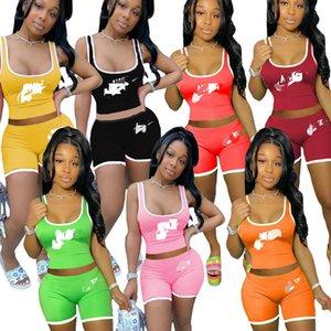 Женские костюмы топики шорт нарядов 2 частей комплект спортивной одежды, случайный спортивный костюм новые горячие продавая способ печати летних женщин одежд klw4205