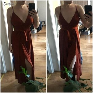 Floral Sexy Print Jumpsuits Women V Neck Split Spaghetti Strap Long Overalls Summer Beach Loose Female Jumpsuit 2020