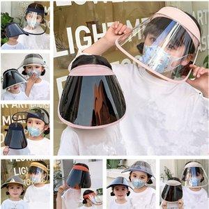 2 개 / 로트 어린이 보호 풀 페이스 마스크 방진 UV 증거 얼굴 쉴드 여름 투명 소년 소녀 안티 물방울 마스크 탄성 일 모자 INS
