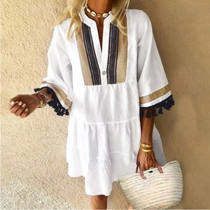 2020 summer new ladies retro dress contrast color tassel mini V-neck skirt