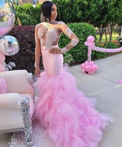 South African Aso Ebi Mermaid Prom Dresses with Applique Beaded Long Sleeves Vestidos De Novia Ruffles Tulle Mermaid Evening Dress