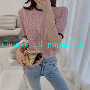 High end women T-Shirt short sleeve cotton Crewneck T-shirt viscose knit stretch sweater shirt tees blouse jacquard All-over FF embossed