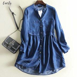 2020 Women Vintage Blue Tencel Denim Dress Female V Neck Long Sleeve Pockets Plus Size Casual Dress Summer Short Vestidos