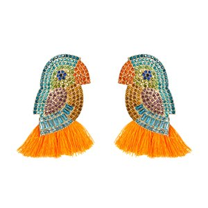 Зарплату Алмазный акриловые цветные бриллиантовые попугай кисточкой серьги женщина личность животное серьга