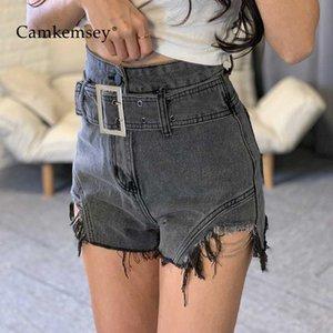 CamKemsey été Basic Denim Shorts Femmes 2020 Street Wear Cuffed chaîne Glands classique taille haute noir Jeans Shorts