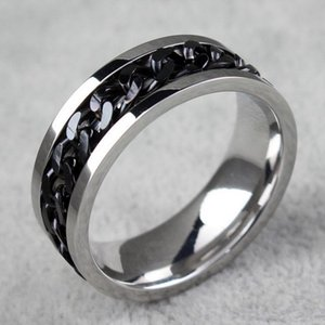 BC Jewelry Fashion Spinner Chain Ring For Men Gold & Black & Silver Stainless Steel Chain Wholesale Mens Jewelry