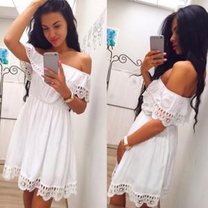 Elegante Vintage Moda Donna dolce pizzo bianco abito elegante sexy Slash collo sottile casuale della spiaggia di estate Sundress femminili vestidos