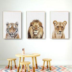 3 Paneller Nursery ve Çocuk Odası Dekorasyonu için Orman Aslan Kaplan Tuval Yağlıboya Resim Hayvan Göre Baskılar Modern Duvar Sanatı Resimleri Kralı