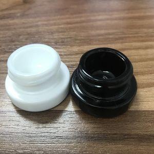 Non-Stick Dab Container 5ml Pot en verre noir blanc avec couvercle résistant à l'enfant pour Dry Herb cire épaisse huile concentré DHL gratuit