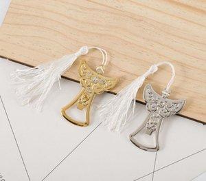 Regalos de boda biberón Ángel abridor Ángel de la Guarda cristalina del diseño del abrelatas de casquillo de bronce para invitados de boda SN1560