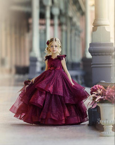 Sparkling 2020 Burgundy Little Girls Pageant Dresses Party Gowns Princess Wear Lace Beads 3D Floral Appliqued Flower Girl Dresses for Weddin