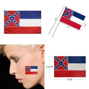 ميسيسبي دولة العلم 90 * 150CM 21 * 13.5CM اليد أعلام 9PCS / مجموعة 9 * 6.5cm وأعلام الوجه ملصق USA دولة طرف راية العلم OOA8260