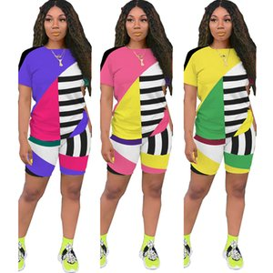 Women's 2 Two Piece Outfits Set Color Block Stripe Sexy Bodycon Fashion Short Sleeve Round Neck Top Skinny Long Casual Pants Tracksuit Set