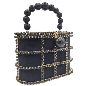 Doppel Blume Diamanten Basket Wannen-Kupplungs-Frauen Black Pearl wulstige Schultertasche Metallkäfig Handtaschen Damen Hochzeit Purse
