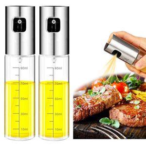2PCS Stainless Steel Glass Olive Oil Sprayer Kitchen Oil Spray Bottle Vinegar Bottle Oil Dispenser for Cooking Salad BBQ Tool T200323
