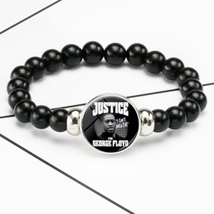 USA Black Lives Matter Beads Bracelet Jewelry I Can't Breathe Glass Dome Snap Buttons Charms Bracelets Justice For George Floyd